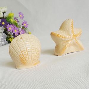 FEIS Großhandel 2 stücke Küche Liefert Kreative Seestern Shells Salz Peepper Shaker Hochzeit Gefälligkeiten und Geschenke Küche seaoning Topf