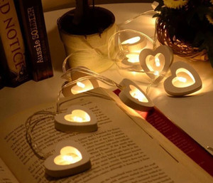 10 Kafaları 1.2 m LED Dize Işıklar Sıcak Beyaz Ahşap Kalp Şekli Yaratıcı Ahşap LED Masa Lambası Xmas Düğün Parti Odası Dekorasyon için