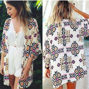 Nueva Llegada 2019 Verano Moda Para Mujer Blusa de Gasa Cardigan Beach Kimono Imprimir Sexy Tallas grandes Ropa Club Club Blusa