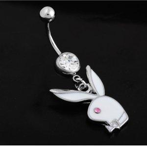 Tavşan Göbek Düğme tavşan kafası vücut takı göbek Vücut Takı Piercing Yüzük Klasik Kırmızı Göz Bunny göbek halkası yüzük