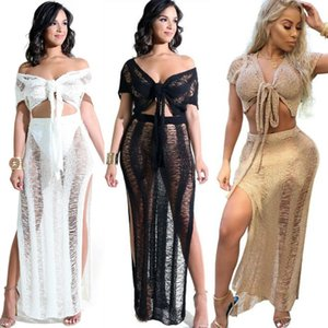 2 PCS Set Sexy Crochet Plage Cover Up Creux Out Tricoté Tassel Beachwear Maillot De Bain Maillots De Bain Cover Ups Beach Dress Femmes Sexy Bikini Costume