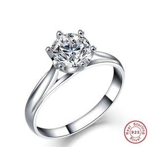 Классическая Шесть коготь Professional Jewelry Factory Fashion Solitaire 925 стерлингового серебра 5A Потрясающие CZ Алмазный женщин обручальное кольцо подарок
