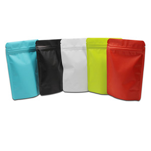 100Pcs ZipLock Stand Up Matte Pure Aluminum Foil Pouch Zip Lock Doypack Mylar Resealable Package Bag Powder Coffee Packaging Bag