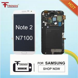 para Samsung Galaxy Note 2 II Asamblea de digitalizador de pantalla táctil LCD con carcasa frontal N7100 N7105 i317 i605 L900 T889 R950