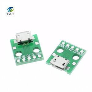 10 pcs MICRO USB para Adaptador 5pin conector fêmea tipo B conversor conversor de pcb 2.54