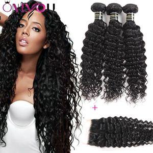 9A Mongol Deep Wave Kinky Bouclés Eau Vague Droite Corps Vierge Cheveux 3Bundles Avec 1 Dentelle Fermeture 100% Brésiliens Extensions de Cheveux Péruviens