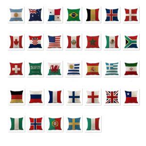 2018 Rusia Copa Mundial almohadas trata sobre la impresión de la bandera nacional de Pillowslip algodón y el lino de cama Throw Pillow caso de la venta caliente 5 VB 5WL