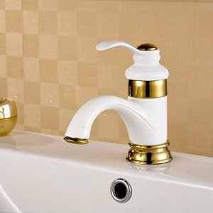 Luxus Badezimmer Schwarz Golden White Wasserhahn Becken Waschbecken Mischbatterie Messing Deck Deck Montiert Becken Wasserhahn