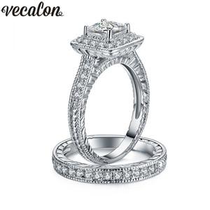 Vecalon 빈티지 여성 반지 세트 1ct 5A 지 르 콘 Cz 결혼 반지 여자 10KT 화이트 골드 채워진 약혼 반지 선물