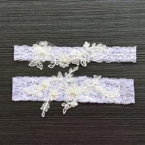 2 pezzi set pizzo appliques perle giarrettiere da sposa prom giarrettiera da sposa giarrettiera cintura faux pearls formato libero accessori da sposa in pizzo