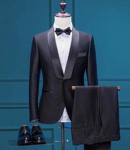 2018 Nouveau Design Noir Marié Porter Deux Pièces Slim Fit Costumes De Mariage Pas Cher Custom Made Hommes Vêtements D'affaires (Veste + Voile + Pantalon + Cravate)