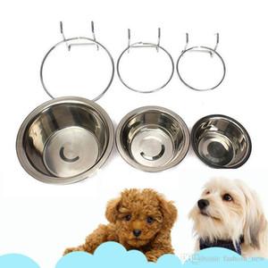 2018 Haustier-Hundekatzen-Schüssel kann stationäre Hundekäfig-Schüssel-Edelstahl-hängende Schüssel drei Maß-stationäre Hundeschüssel hängen