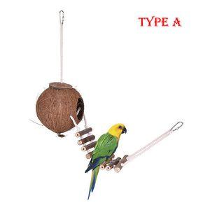 Natürlicher Kokosnuss-Muschel-Vogelkäfig-Verschachtelungs-Haus-Vogel-Zufuhr mit hängendem Schleifen-Unterschlupf mit Leiter-Papageien-Spielzeug