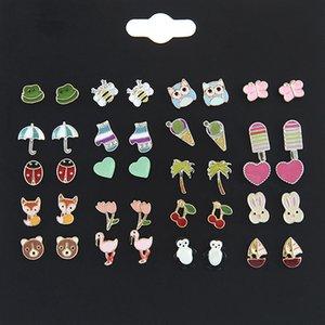 20 paires / lot coréen différents modèles boucles d'oreilles stud en alliage d'oreille studs femmes bande dessinée animal shapel boucle d'oreille bijoux stud set livraison gratuite