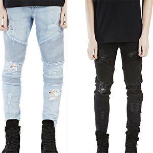 Mens Denim Jeans Skinny Slim Pantalons élastique Denim mode vélo Ripped trou noir Jean pour hommes pantalons Vêtements solide Taille 28-38