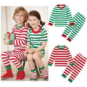 أزياء طفل الفتيان الفتيات عيد الميلاد منامة الاطفال طويلة الأكمام عيد الميلاد القطن منامة ملابس الأطفال الخريف مجموعة