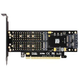 Adaptador SK16 M.2 NVMe SSD NGFF A PCI-E3.0 X16 tarjeta de interfaz de M Clave Clave B mSATA Suppor PCI Express 3.0 3 en 1 doble + 12v 3.3v
