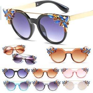 Multi colorido de cristal moda rosa prata cat eye sunglasses feminino marca espelho óculos de sol para as mulheres celebridade favorito cateye óculos