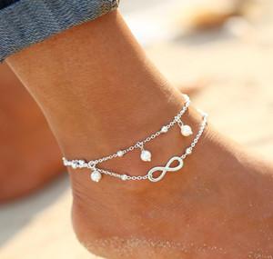 Braccialetto alla caviglia Fine Jewelry Sandali a punta nuda Beads Three Chain Leg Chaine Pulseras Tobilleras a piedi Cavigliera per le donne #Y
