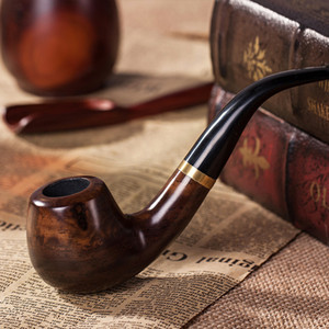 Pipe Tobacco Pipe Sandalwood Handmade Solid Wood Curved Bucket Filter Cigarette Holder Smoking Gift Box Packaging