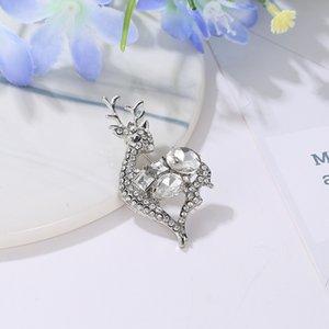 Рождественские броши Pins Подарок смазливая для женщин Мода Кристалл Брошь Бегущий Олень Брошь