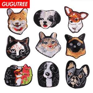 GUGUTREE un juego de perros de bordado parches parches de dibujos animados insignias parches de aplicación para la ropa SP-24