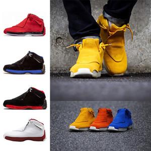 Toptan 18 Toro Salonu Kırmızı Süet Spor Kraliyet Erkekler basketbol ayakkabı mavi siyah beyaz kırmızı 18 s erkek Spor ayakkabı eğitmenler Sneaker abd ...