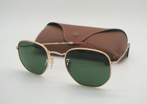 1Pair High Quality Mens Hexagonal Metal Sunglasses Irregular Personality Sun Glasses Gold Frame Green Glass Lenses 51MM Come With Brown Case
