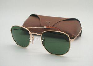 1 par de alta qualidade dos homens de metal hexagonal óculos de sol personalidade irregular óculos de sol moldura de ouro lentes de vidro verde 51mm vêm com caixa marrom