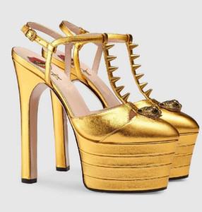 Elegant Women Sexy Sandals 2018 Summer Stylish Women Pumps High Heels Open Toe Multicolored Women T-Strap High Platform Rivets Party Shoes