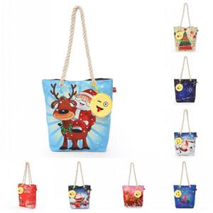 Bolso de hombro de la lona de la moda bolsa resistente al desgaste impreso bolsos de compras Navidad de Navidad Santa Claus ciervos bolsos de diseño de dibujos animados 23hz BB