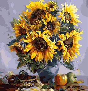 Girasole e vaso fai da te digitale pittura a olio by numbers casa decorazione della parete frameless tela pittura a olio kit picture wall art m55