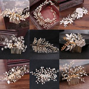 Muchos estilo oro color cristal simulado perla peine del pelo para la boda accesorios para el cabello hechos a mano de la novia del pelo de la joyería del casco de la tiara