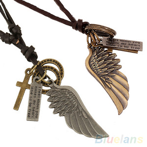 전체 판매 앤티크 빈티지 앤젤 윙 Mens Leather Necklace Charms Pendant 2KM5