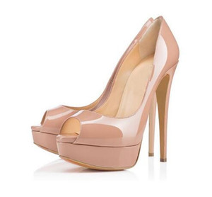 Fashion Brand Red Bottom High Heels Sexy Peep-toe Platform Red Sole Shoes Women Pumps 16cm High-heeled Party Shoes size 34-43