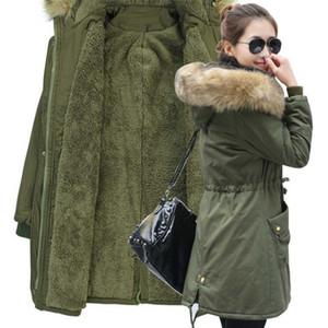 MECEBOM Moda Sonbahar Sıcak Kış Ceketler Kadın Kürk Yaka Uzun Parka Artı Boyutu yaka Rahat Pamuk Bayan Dış Giyim Parkı 1223c S18101103