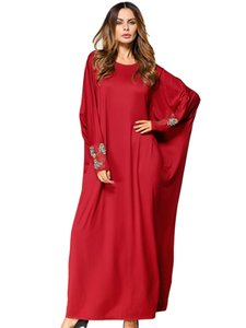 solid muslim abaya red flower Embroidery bat sleeve oversized dress Autumn women loose robes festival Casual gowns