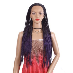 """Ombre Hair Braids Wig Black Purple 30"""" Long Cosplay Synthetic Lace Front Wigs crochet American Afro Pre-braidede Box Braid Wig"""