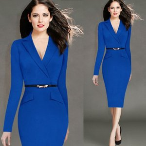 Wholesale-2017 Ladies Elegant Long Sleeve Blue Dress Pencil Women Formal Dresses Suit for Work Party Tunic Office Bodycon with Belt