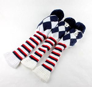 Golf Club Knit 3pcs Headcover Set Vintange Pom Pom calcetín cubre 1 / -3 /