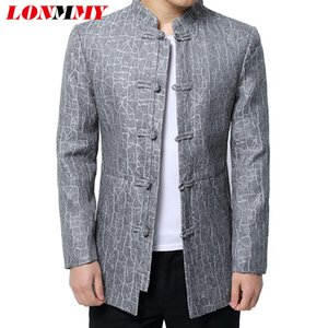 LONMMY Chinese style jackets men coats Windbreaker jaqueta masculina Long style trench coat mens clothing jacket red gray 2018