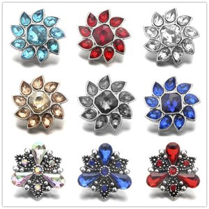 Exquisite Noosa Inlay Crystal Metal Flower Snap Bottoni 18mm Charms pulsante per DIY Snap risultati dei monili