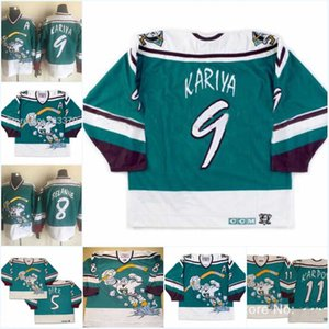 Mighty Ducks 11 Valeri Karpov Wild Wing Jersey 5 Dirr 1995-1996 Vintage 8 Teemu Selanne 9 Paul Kariya Pieghe da hockey cucita