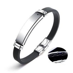Siyah Renk Moda Basit erkek Silikon Mıknatıs Bileklik Paslanmaz Çelik Bilezik Erkekler için Watchband Takı Hediye Boys 1276