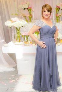 Lila Chiffon Mutter der Braut Bräutigam Kleider A-Linie Luxus Perlen Kristall Falten Flügelärmeln Lange Prom Party Kleid Formelle Abendgarderobe M91