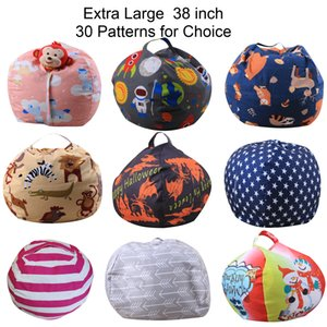 Extra Large Toy Storage Bag 38 inch Stuffed Animal Storage Bean Bag Chair Pouf Ottoman for Kids Clothes Toy Storage 30 Patterns