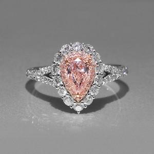 Lover подарков Ослепительная груша Cut розовый Diamonique CZ 18K Gold Party Заполненный Свадьба обручальное кольцо диапазона Promise