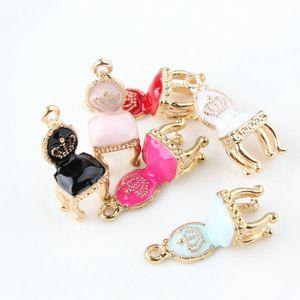 100pcs 10 * 26mm DIY jewely supplies gold-color alloy enamel palace chair charms pendant oil drop for bracelet