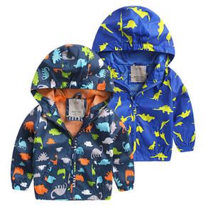 긴 소매 후드가 달린 만화 공룡 소년 자켓 어린이 방풍기 어린이 가을 레인 코트 가을 어린이 의류 소년 자켓