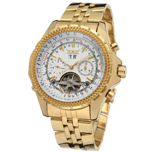 Gold Hot  Automatic Tourbillion Stainless Steel Militry Watches Male Relogio MMasculino Mechanical Exquisite